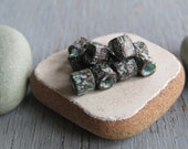 mini tube beads, small textured metal casting spacer - green patina on  antiqued copper - 3.5 x 4mm ( 20 beads  ) 6bs2694