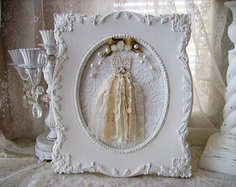 Shabby Chic Petite Lace Dress Wall Hanging With Vintage Ornate Frame.  Vintage Inspired Shabby Wall Decor