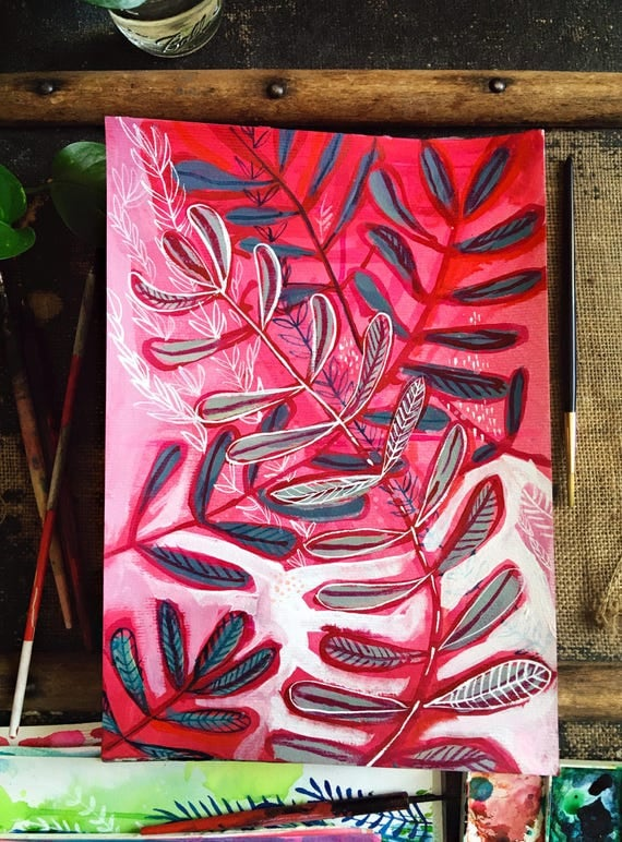 Original acrylic and ink painting on paper Pink and Red Botanical Study No.2 artwork by Paula Mills