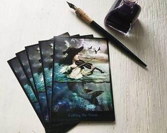 "SET OF 5 POSTCARDS - ""Calling The Storm"" 4 x 6 cards, postcards, post cards, fantasy, music, violin, mermaid, vintage, ocean, violinist"