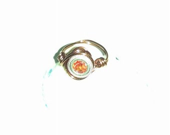 Reclaimed Orange Sapphire Upcycle Recycle Wire Wrapped Copper Color Pinky Ring Silver Bezel Size 2 Petite Handmade Jewelry