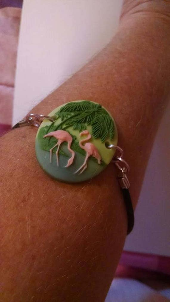3D Pink Flamingos Cameo Bracelet Anklet with Palm Trees on Leather Cord  Shabby Boho Chic Summer Spring Fashion Wedding Cruise Beach Exotic
