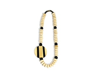 SALE - 1980s Funky Geometric Wooden Beads Necklace