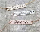 Personalized Bar Necklace - Gift - Custom Handwriting Necklace - Kids Drawing - Personalized Bar Necklace - Gold Bar Necklace