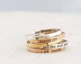 Inspiration Ring - Personalized Ring -  Dainty Jewelry - Personalized Gift - Rose Gold Ring - Mixed Metal Stacking Ring - Rings - Gold Ring