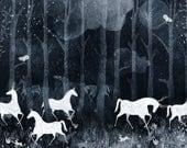 horse art, horse print, white horses, forest animals, moonlight art, animal art, archival print, fairytale art, art print, magical art,