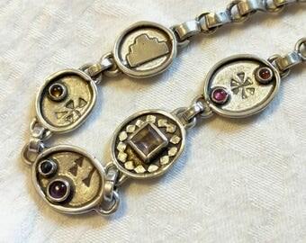 Multi Gemstone Bracelet, Sterling Silver, Tourmaline, Citrine, Garnet, Amethyst, , 7.75 in. Handmade