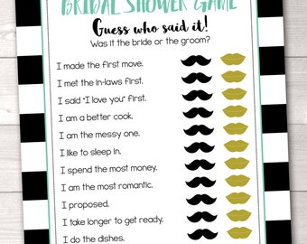Instant Download Bridal Shower Game He Said She Said Guess Who Said It Printable Bridal Shower Game in Black Gold & Aqua