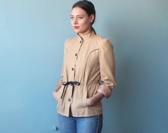 vintage khaki jacket | drawstring waist light weight spring trench jacket | 1980s s-m