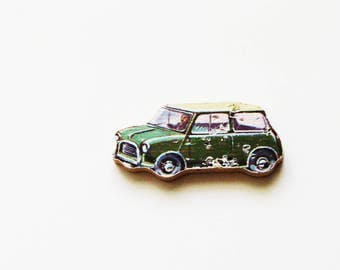 1960s Mini Car Brooch - Pin / Upcycled Vintage Hand Cut Wood Road Vehicle Puzzle Piece / Green Mid Century Pin / Unique Gift Under 30