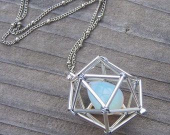 NEW! Geometric Necklace - Icosahedron - Opalite - Silver Tones