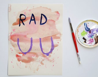"""Rad Boobs Feminist Art Gift Free The Nipple Painting on Paper Girl Power Wall Art Female Nudity Tits Breasts Body Positive Home Decor 9""""x12"""""""