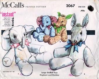 1950s McCall's 2067 UNCUT Vintage Sewing Pattern Large Stuffed Toys Elephant Donkey
