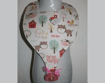 "Baby Bibs, Pacifier Bibs, Bibs with Pacifier, Bibs, Pacifier, "" Farm Animals"""