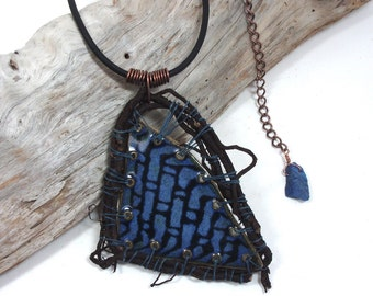 NECKLACE, Handmade, One of a Kind, Reversible Ceramic Shard Pendant, Waxed Linen Cord Wrapped Dried Virginia Creeper, Leather, Copper Chain