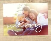 Christmas card - Holiday photo card - Modern Christmas card - digital Christmas card - Be Merry holiday Card - printable Christmas card