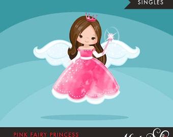 Pink fairy princess clipart. Fairy wings, fairy magic, cute fairy character, princess graphics, princess crown, single illustration