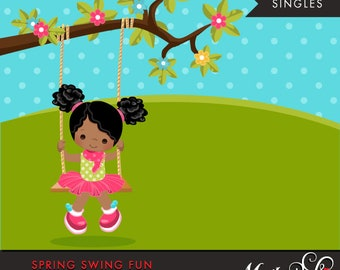 Spring Clipart. African American girl playing, swing, spring trees, graphics, outdoor, easter, card making, scrapbooking, commercial use
