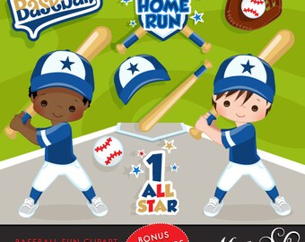 Baseball Clipart. Baseball graphics, baseball players, baseball game illustrations, kids playing baseball, home run, african american