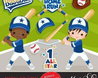Baseball Clipart. Baseball graphics, baseball players, baseball game illustrations, kids playing baseball, home run, african american