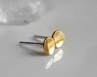 Tiny Gold Brass Studs, Moon Studs, Unisex Earrings, Men's Studs, Women's Post Earrings, Little Gold Studs, Dot Earrings, Round Domed Studs
