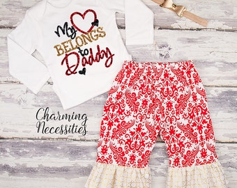 Baby Girl Valentines Day Outfit, Toddler Girl Clothes, Top and Ruffle Pants Set, My Heart Belongs to Daddy red gold by Charming Necessities