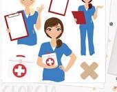 Woman nurse character clipart, healthcare illustration, nursing clipart set with blonde, brunette and auburn hair (Georgia  L067)