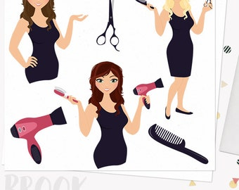 Woman hair stylist character clipart, beauty design clipart set with blonde, brunette and auburn hair (Brook  L101)