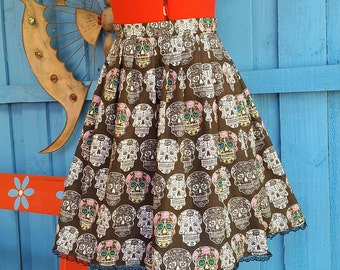 Womens High Waisted Sugar Skull Rockabilly Skirt with Lace