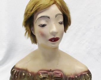 1950's Vintage  Lamoureux Plaster Mannequin Head