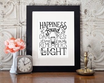 Digital Harry Potter quote Happiness Can be Found wall art print, great for a nursery