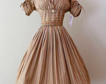 Vintage 1950's Striped Day Dress With Full Skirt And Shelf Bust ~ Vintage 50s Candy Striped Dress by Smartcraft