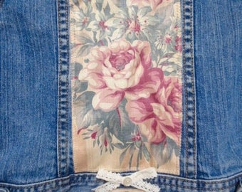 Girl's GAP Denim Jacket Vintage Upcycled Embellished Blue Jeans Shabby Cottage Chic Cowgirl Floral Fabric Paris Millinery SZ 4/5