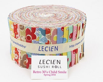 """Retro 30's Jelly Roll 2 1/2"""" fabric strips quilt fabric 42-pc pack - Lecien L3027-SR Retro 30'S Child Smile Spring 2016 - cotton Sushi Roll"""