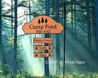 Wooden Camp Sign - Family Name Sign 3 Addons -  Pine Tree Graphic  Carved Camping Sign - JGWoodSigns Custom Name Sign
