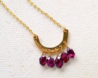 Golden Coast Necklace - gold horseshoe necklace with red garnet fringe, scarlet red garnet fringe pendant, one of a kind garnet necklace