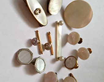 Antique Lot MOP tie clips, studs, collar buttons, cufflink parts & pieces, vintage jewelry supply mother of pearl