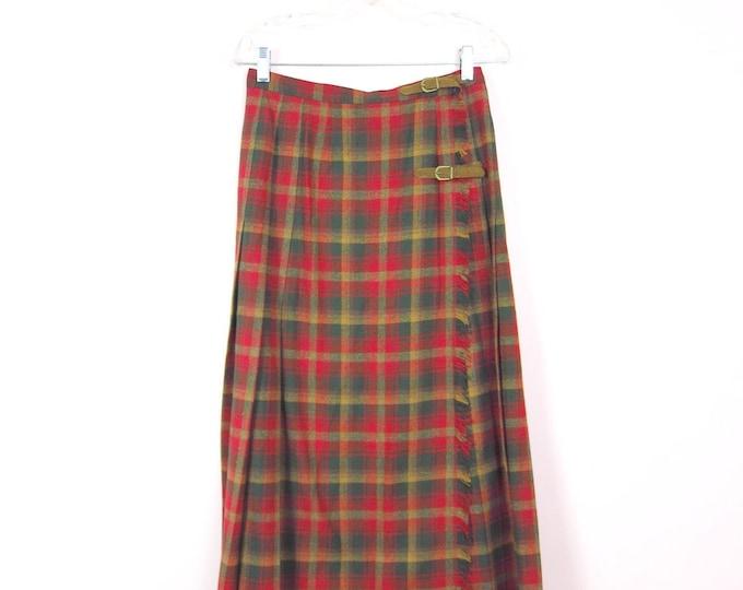 1970s Pendleton Wrap Tartan Red & Green Plaid Long Wool Skirt L