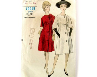 60s MOD Coat Dress Pattern / VOGUE 5926 / Fitted Dress with Asymmetrical Buttoned Front / Vintage Vogue Sewing Pattern / Size 14