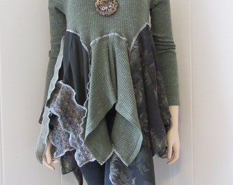 Boho Lagenlook Tunic Cotton Knit & Crepe Sage Green Shabby Tattered Eco Chic Size S - M