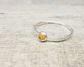 Citrine Ring Sterling Silver Stacking Ring