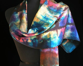 Silk Scarf Hand Dyed Shibori Scarf Gift For Her Hand Painted Scarf Art Wearable Fashion - Autumn Illusions