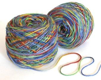Hand Dyed Yarn Wool Angora Rabbit Yarn Fingering Weight Yarn 435 yards Soft Yarn - Wild Flowers