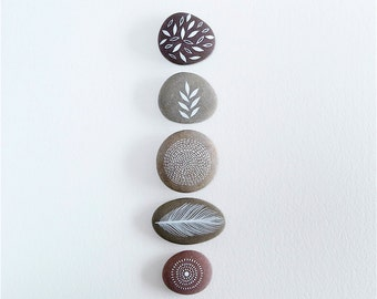 Painted Stones - Collection of 5 Pebbles with Nature Designs - Woodland Walk by Natasha Newton