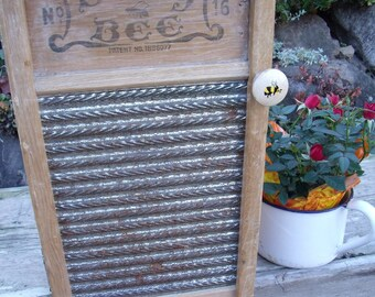 "WASHBOARD CABINET REcycled from an antiQue ""Busy Bee"" Washboard-a great medicine cabinet / spice cupboard-wall storage-FREE gift wrapping!"