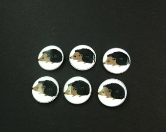 "6 hedgehog buttons for sewing, knitting, crochet.  Handmade By Me.  Washer and Dryer Safe. 3/4"" or 20 mm Round."