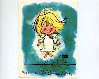 Vintage Christmas Card Cute Angel Kawaii Yellow Hair Little Girl Angel Holiday Greetings You Light Up This Earth Turquoise White 1970s