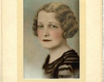1930s Woman Studio Portrait Photograph 5 x 7 Tinted Sepia in 8 X 13 Portfolio Frame Finger Wave Bob Hair Blue Eyes Serious Lady