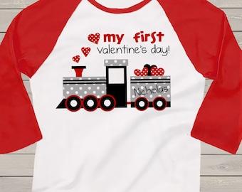 First Valentine's day polka dot train personalized raglan shirt  VDMFTR