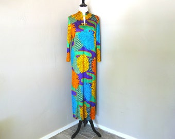 1970s Hostess Dress, Caftan, or Loungewear Dress with Huge Floral Pattern in Turquoise/Orange/Green/Purple, For Costume Party or Repurposing